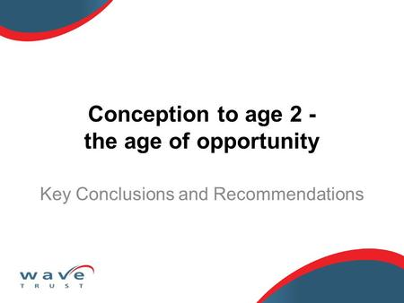 Conception to age 2 - the age of opportunity Key Conclusions and Recommendations.