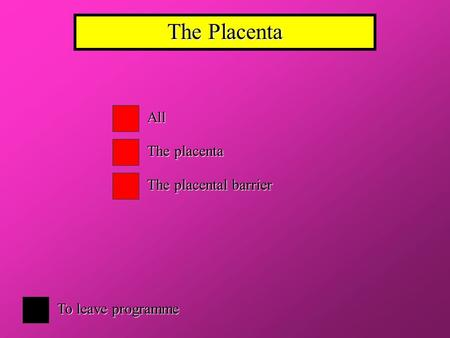 The Placenta All The placenta The placental barrier To leave programme.