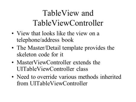 TableView and TableViewController