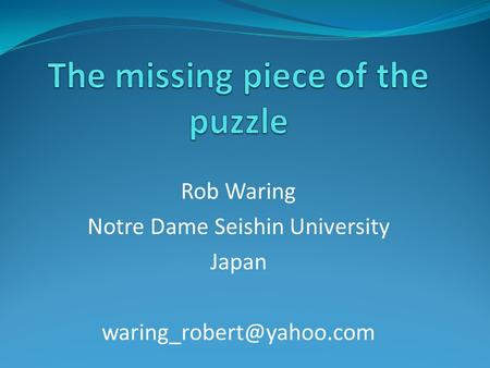 Rob Waring Notre Dame Seishin University Japan