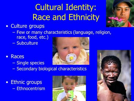 Cultural Identity: Race and Ethnicity Culture groups –Few or many characteristics (language, religion, race, food, etc.) –Subculture Races –Single species.