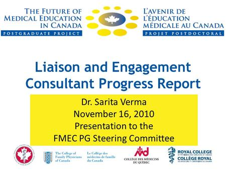 Liaison and Engagement Consultant Progress Report Dr. Sarita Verma November 16, 2010 Presentation to the FMEC PG Steering Committee.