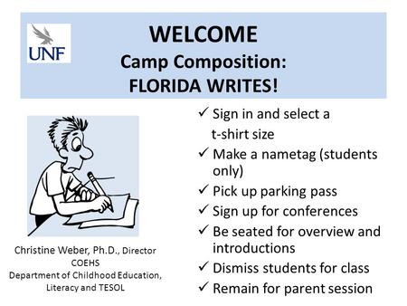 WELCOME Camp Composition: FLORIDA WRITES! Sign in and select a t-shirt size Make a nametag (students only) Pick up parking pass Sign up for conferences.