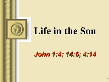 1 Life in the Son John 1:4; 14:6; 4:14 This presentation will probably involve audience discussion, which will create action items. Use PowerPoint to keep.