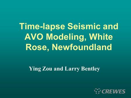 Time-lapse Seismic and AVO Modeling, White Rose, Newfoundland