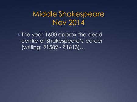 Middle Shakespeare Nov 2014