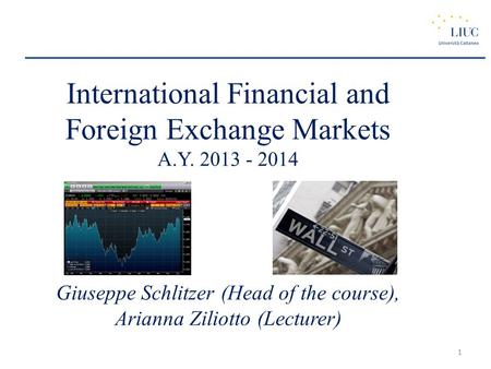 International Financial and Foreign Exchange Markets A.Y. 2013 - 2014 Giuseppe Schlitzer (Head of the course), Arianna Ziliotto (Lecturer) 1.