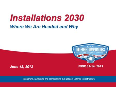 Installations 2030 Where We Are Headed and Why June 13, 2013.