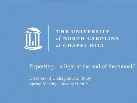 Reporting…a light at the end of the tunnel? Directors of Undergraduate Study Spring Meeting - January 31, 2012.