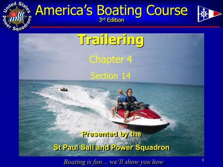 Boating is fun… we'll show you how America's Boating Course 3 rd Edition 1Trailering Chapter 4 Section 14 Presented by the St Paul Sail and Power Squadron.