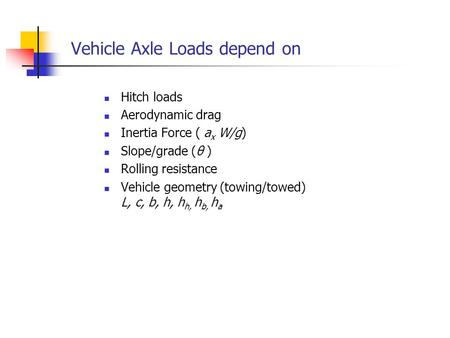Vehicle Axle Loads depend on Hitch loads Aerodynamic drag Inertia Force ( a x W/g) Slope/grade (θ ) Rolling resistance Vehicle geometry (towing/towed)
