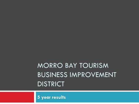MORRO BAY TOURISM BUSINESS IMPROVEMENT DISTRICT 5 year results.