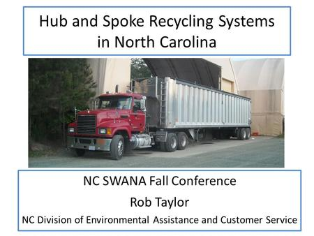 Hub and Spoke Recycling Systems in North Carolina NC SWANA Fall Conference Rob Taylor NC Division of Environmental Assistance and Customer Service.