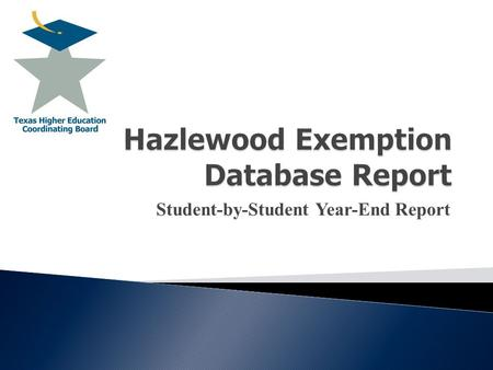 Student-by-Student Year-End Report. Hazlewood Exemption Database Report  Eligibility Requirements  Legacy Act  Default Loan Check  New Hazlewood Database.