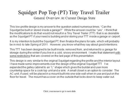 Squidget Pop Top (PT) Tiny Travel Trailer