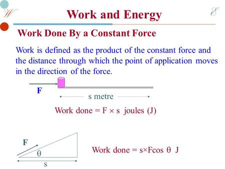 E W Work and Energy Work Done By a Constant Force Work is defined as the product of the constant force and the distance through which the point of application.