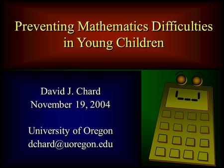 Preventing Mathematics Difficulties