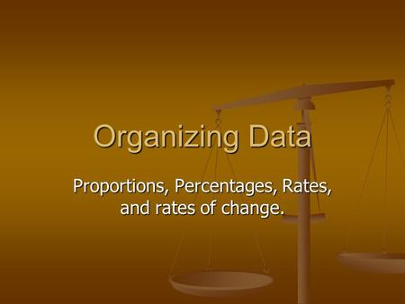 Organizing Data Proportions, Percentages, Rates, and rates of change.