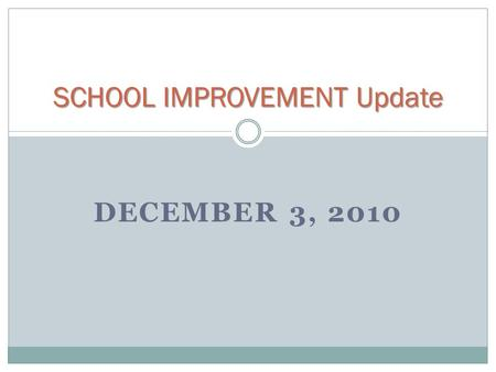 SCHOOL IMPROVEMENT Update DECEMBER 3, 2010. School Data Profile/Analysis (SDP/A) – opens December 13, 2010; due September 1, 2011  Pre-populated with.