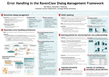 Error Handling in the RavenClaw Dialog Management Framework Dan Bohus, Alexander I. Rudnicky Computer Science Department, Carnegie Mellon University (