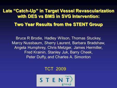 "Late ""Catch-Up"" in Target Vessel Revascularization with DES vs BMS in SVG Intervention: Two Year Results from the STENT Group Bruce R Brodie, Hadley Wilson,"