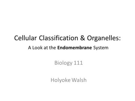 Cellular Classification & Organelles: A Look at the Endomembrane System Biology 111 Holyoke Walsh.