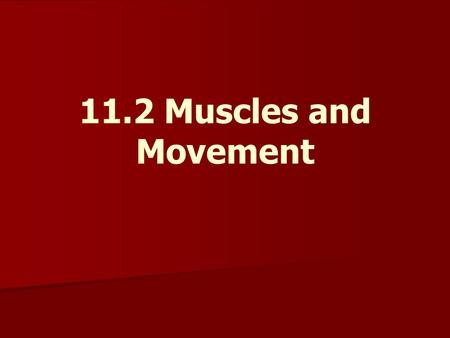 11.2 Muscles and Movement.