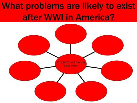 What problems are likely to exist after WWI in America? Problems in America After WWI.