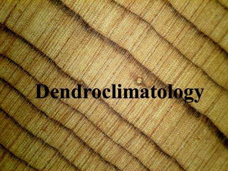 Dendroclimatology. Dendroclimatologists are interested in past climate so that the variation and trend of modern climate can be put into perspective Synoptic.