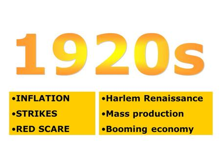INFLATION STRIKES RED SCARE Harlem Renaissance Mass production Booming economy.