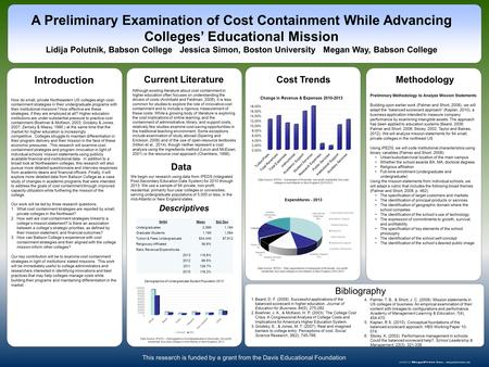 Www.postersession.com How do small, private Northeastern US colleges align cost- containment strategies in their undergraduate programs with their institutional.