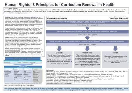 Human Rights: 8 Principles for Curriculum Renewal in Health Challenge: How to instill knowledge, attitudes and behaviours that are aligned with the eight.