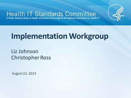 Liz Johnson Christopher Ross Implementation Workgroup August 22, 2013.