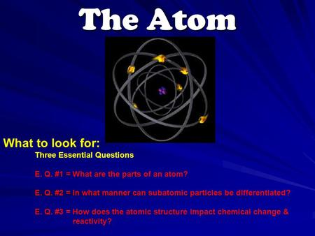 The Atom What to look for: Three Essential Questions