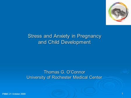 1 Stress and Anxiety in Pregnancy and Child Development Thomas G. O'Connor University of Rochester Medical Center PNMC 21 October 2009.