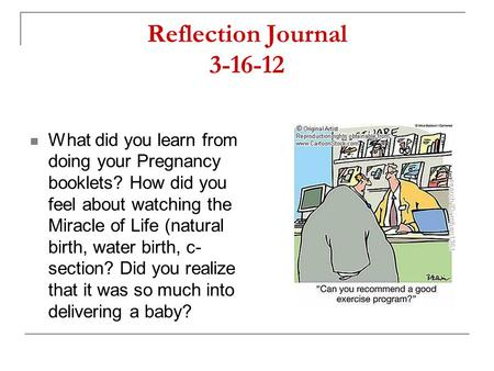 Reflection Journal 3-16-12 What did you learn from doing your Pregnancy booklets? How did you feel about watching the Miracle of Life (natural birth, water.