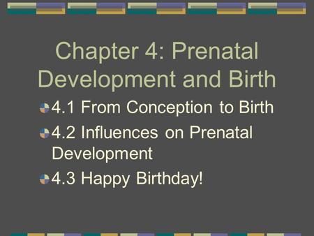 Chapter 4: Prenatal Development and Birth