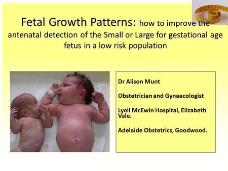 Fetal Growth Patterns: how to improve the <strong>antenatal</strong> detection of the Small or Large for gestational age fetus in a low risk population Dr Alison Munt Obstetrician.