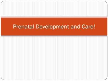 Prenatal Development and Care!