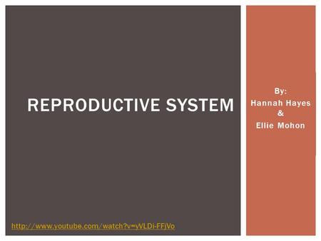 By: Hannah Hayes & Ellie Mohon REPRODUCTIVE SYSTEM