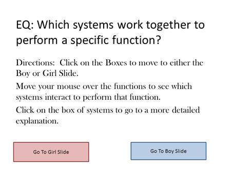 EQ: Which systems work together to perform a specific function? Directions: Click on the Boxes to move to either the Boy or Girl Slide. Move your mouse.