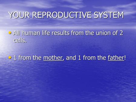 YOUR REPRODUCTIVE SYSTEM All human life results from the union of 2 cells. All human life results from the union of 2 cells. 1 from the mother, and 1.