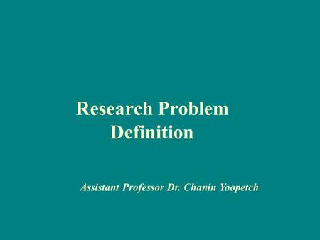 Research Problem Definition