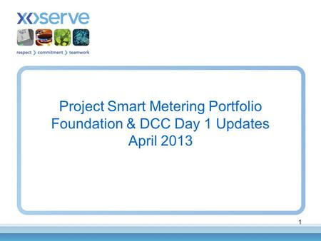 1 Project Smart Metering Portfolio Foundation & DCC Day 1 Updates April 2013.