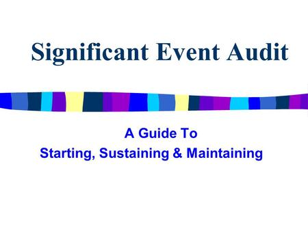 Significant Event Audit A Guide To Starting, Sustaining & Maintaining.