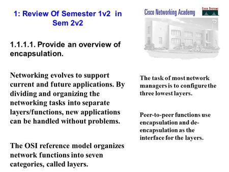 1: Review Of Semester 1v2 in Sem 2v2 1.1.1.1. Provide an overview of encapsulation. Networking evolves to support current and future applications. By dividing.