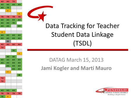 Data Tracking for Teacher Student Data Linkage (TSDL) DATAG March 15, 2013 Jami Kogler and Marti Mauro.