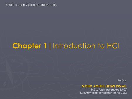 Chapter 1|Introduction to HCI