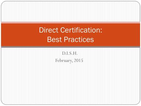 Direct Certification: Best Practices