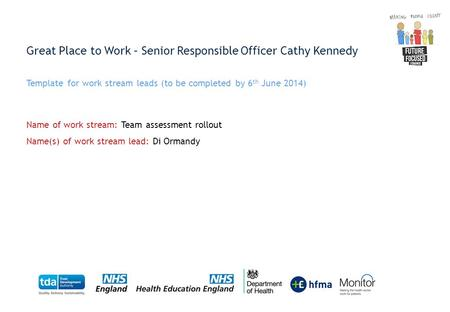 Great Place to Work – Senior Responsible Officer Cathy Kennedy Template for work stream leads (to be completed by 6 th June 2014) Name of work stream:
